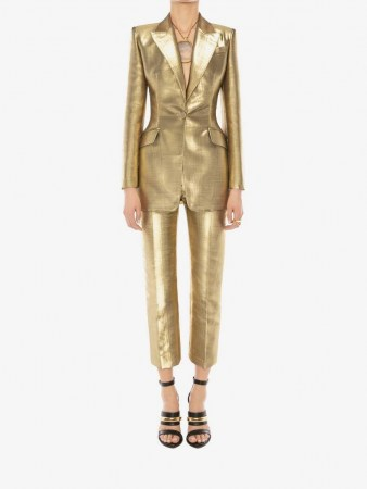 Metallic Moiré Jacket | gold evening jackets