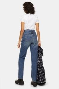 Topshop Mid Blue Buckle Carpenter Jeans | back detail | denim details