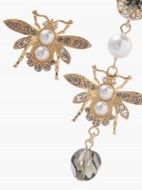 ERDEM Mismatched crystal-embellished bee earrings ~ romantic style jewellery ~ bees ~ glamorous drops