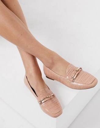 Miss Selfridge loafers with knot buckle detail in light pink - flipped