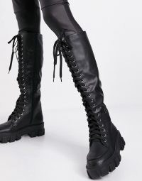 Missguided lace up boots with chunky sole in black ~ thick textured tread boots