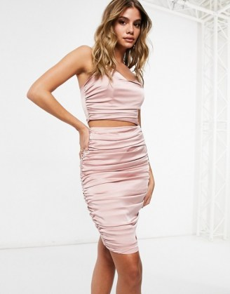 Missguided ruched co-ord in rose ~ pink going out fashion sets - flipped