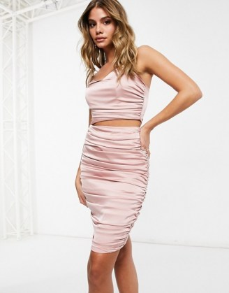 Missguided ruched co-ord in rose ~ pink going out fashion sets
