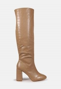MISSGUIDED mocha croc block heel knee high boots ~ crocodile effect boot ~ chunky heels