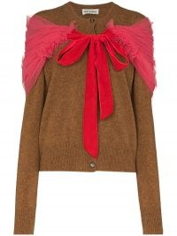 Molly Goddard Joelle tulle-insert wool cardigan | knitwear with a romantic look | feminine cardigans