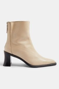 Topshop MONEY Leather Heeled Boots | neutral winter footwear