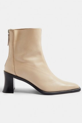 Topshop MONEY Leather Heeled Boots   neutral winter footwear