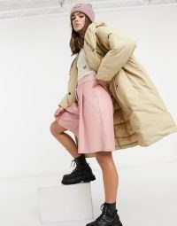 Monki Janna recycled padded duvet coat with hood in beige ~ oversized winter coats