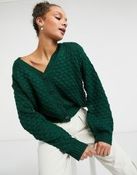 Monki Ninni knit cardigan in green | V-neck cardigans