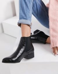 Monki Ofelia vegan leather chelsea boots in black croc