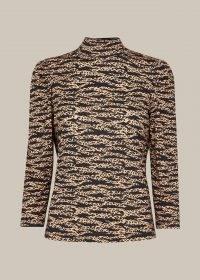 WHISTLES TIGER LEOPARD PRINT HIGH NECK / animal print tops