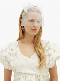 MAISON MICHEL Naleya polka-dot tulle bow-embellished headband ~ sheer veil style headbands