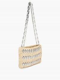 PACO RABANNE 1969 Nano raffia and chainmail shoulder bag ~ small chain strap bags ~ metal detail handbags