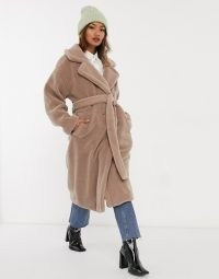Native Youth oversized belted coat in caramel teddy ~ front wrap winter coats