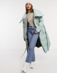 Native Youth oversized longline puffer coat with belt and collar detail dusty mint ~ big green padded winter coats