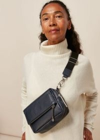 WHISTLES BIBI CROSSBODY BAG NAVY / dark-blue leather bags