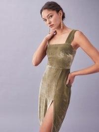 REFORMATION Navy Dress in Artichoke ~ green velvet thigh high split dresses ~ luxe evening fashion
