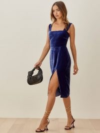 Reformation Navy Dress in Danube | blue velvet high high slit dresses | square neckline