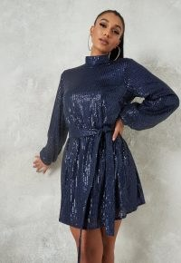 MISSGUIDED navy sequin high neck balloon sleeve mini dress ~ sparkling blue party dresses