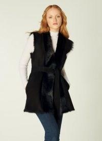 L.K. BENNETT NELLIE BLACK SHEEPSKIN GILLET / glamorous winter gillets