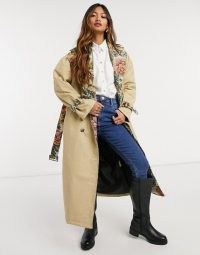 Neon Rose relaxed belted trench coat with floral contrast ~ flower print trimmed coats