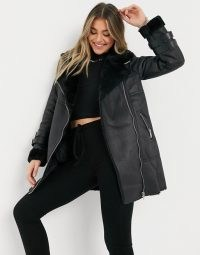New Look longline aviator jacket in black ~ faux fur / leather winter coats