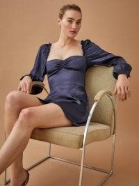 Anthropologie Novella Dress | navy blue silk fitted bodice dresses