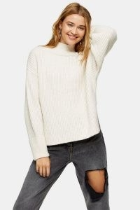 Topshop Oat Plaited Funnel Neck Knitted Jumper | neutral drop shoulder jumpers