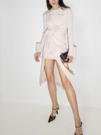 Off-White x Browns 50 wraparound-style midi dress ~ going out dresses ~ party glamour