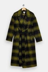 TOPSHOP Olive Check Coat | green checked winter coats