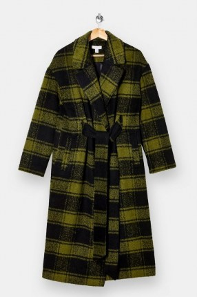 TOPSHOP Olive Check Coat | green checked winter coats - flipped