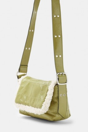 TOPSHOP Olive Vinyl And Borg Shoulder Bag / faux fur trimmed bags / green handbags - flipped