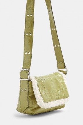 TOPSHOP Olive Vinyl And Borg Shoulder Bag / faux fur trimmed bags / green handbags