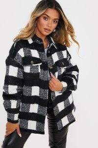 OLIVIA BOWEN BLACK & WHITE CHECKED TRUCKER SHACKET / monochrome check shackets