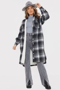 OLIVIA BOWEN BLACK WOOL CHECK LONGLINE OVERSIZED SHACKET WITH BORG LINING / long checked shackets / oversized shirts