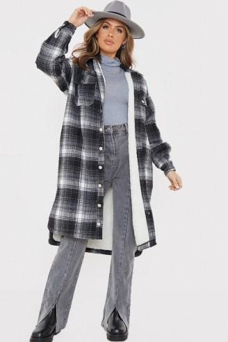 OLIVIA BOWEN BLACK WOOL CHECK LONGLINE OVERSIZED SHACKET WITH BORG LINING / long checked shackets / oversized shirts - flipped