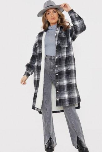 OLIVIA BOWEN BLACK WOOL CHECK LONGLINE OVERSIZED SHACKET WITH BORG LINING / long checked shackets / oversized shirts