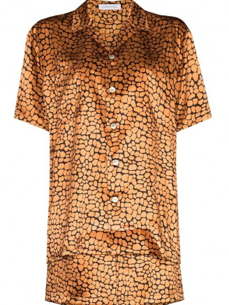 Olivia von Halle Emeli leopard-print silk pajamas / animal print pyjama sets / shirt and shorts nightwear - flipped