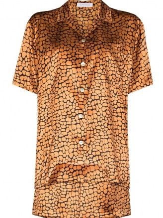 Olivia von Halle Emeli leopard-print silk pajamas / animal print pyjama sets / shirt and shorts nightwear