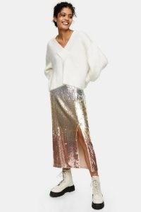 Topshop Ombre Sequin Midi Pencil Skirt ~ sparkly split slirts