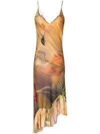 Collina Strada Michi tie-dye floral print dress – ruffled asymmetric hemline slip dresses