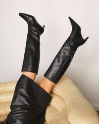 JIGSAW OSLO LEATHER HEELED KNEE BOOT ~ black pointed toe knee high boots