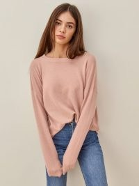 REFORMATION Oversized Cashmere Crew – blush pink sweaters – soft luxe roomy jumpers