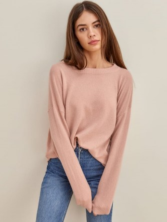 REFORMATION Oversized Cashmere Crew – blush pink sweaters – soft luxe roomy jumpers - flipped