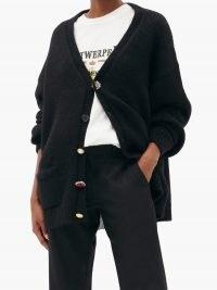VETEMENTS Black oversized multi-button cardigan ~ embellished button cardigans