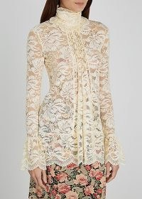 PACO RABANNE Cream stretch-lace top ~ high neck victorian style tops ~ feminine vintage look blouse