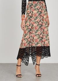 PACO RABANNE Floral-print stretch-jersey skirt / romantic style fashion / lace trim skirts