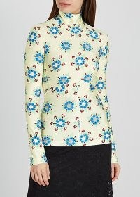 PACO RABANNE Floral-print stretch-jersey top – fitted high neck pullover tops
