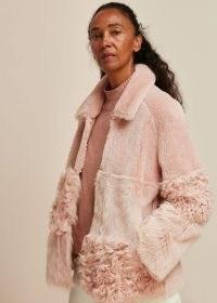WHISTLES HEMA SHEARLING COAT ~ pink panelled winter coats