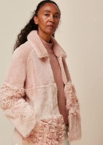 WHISTLES HEMA SHEARLING COAT ~ pink panelled winter coats - flipped